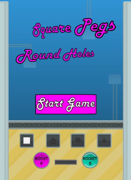 Screenshot of Square Pegs Round Holes game start